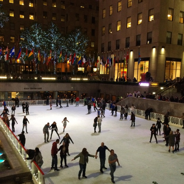 Winter ice skating at the Rockefeller Center